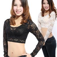 2014 Plus size S-XXXL Sexy And short Lace shirt Women black and white Blouse female basic long-sleeve round neck Blouse