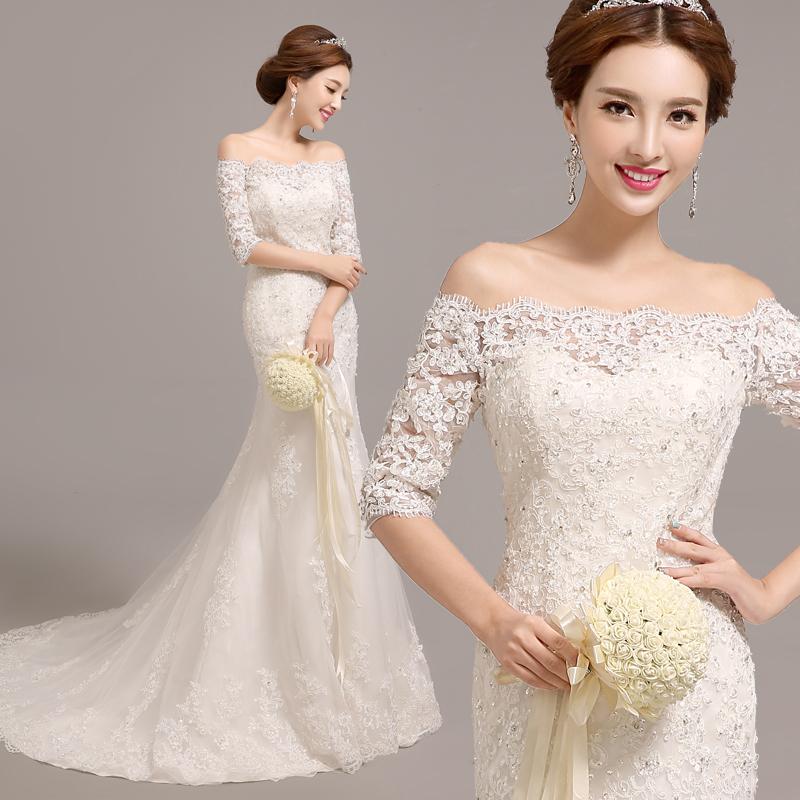 Bride 2015 slit neckline big train wedding dress lace slim waist straps slim fish tail wedding dresses long tail(China (Mainland))