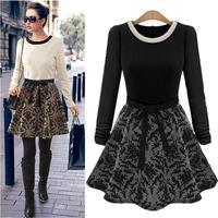 2014 autumn and winter women new arrival fashion elegant slim long-sleeve plus size basic patchwork one-piece dress