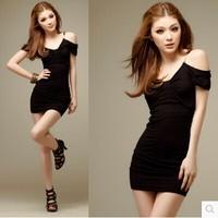 2014 V-neck summer spaghetti strap strapless black sexy hip slimming slim one-piece dress