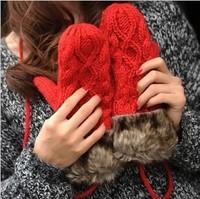Winter double layer thermal thickening fur halter-neck yarn women's mitten