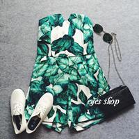 sexy  top slim elastic waist tropical print jumpsuit