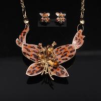 Fashion jewelry set  luxury elegant bijoux butterfly rhinestone short necklace earrings formal dress dinner bridal jewelry sets