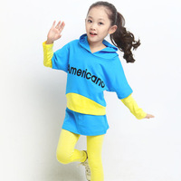 Autumn 2014 children's clothing autumn medium-large female child set autumn and winter kids clothes batwing shirt child set