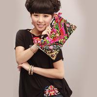 Free shipping! National trend embroidered bag summer messenger bag small bag storage bag woven damask flower