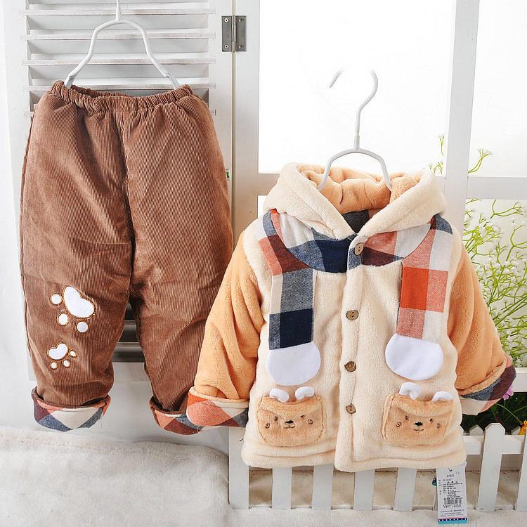 jaqueta de algodão acolchoado definir outono bebê infantil e inverno cachecol urso tampa tira de veludo twinset(China (Mainland))