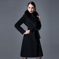 Cardamom 2014 Woolen Dress High Quality Winter Slim Super Large Fox Fur Wool Cashmere Overcoat