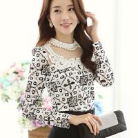 2014  Spring Autunm Korean Elegant Lace Shirts Long Sleeve Beading Stand Collar Cotton Lace Blouse Women Blouses Slim