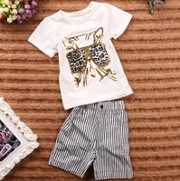 September new summer Boys Leopard Casual t-shirt + Short pants 2 pieces children's clothing sets 5set/lot #210216