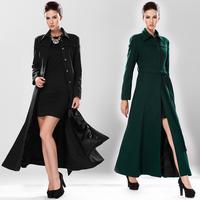 Hot sale slim woolen outerwear ultra long cashmere overcoat belt green black S/M/L/XL