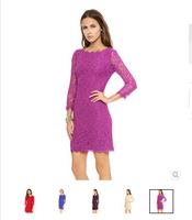2014 Summer Women's Fashion Embroidery Cutout Slim Racerback Lace Decoration Party Casual Dress Vestidos 5 Colors
