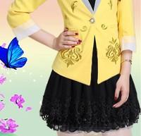 2014 New Style Women's Vantage Solid Color Pleated Mini Skirt  High Waist Skater Skirt
