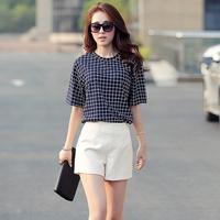 2014 shorts casual set plaid fashion female viscose  high quality