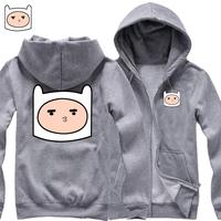2014 new adventure clown AdventrueTime fleece zip cardigan sweater jacket for men and women thicker cotton hoodies man hoody