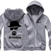 2014 new drama Breaking Bad BREAKING BAD fleece zip cardigan sweater cardigan coat thick cotton men hoodies man hoody