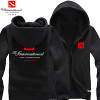 2014 New DOTA2 International Limited Seattle TI4 thick fleece hooded zip cardigan sweater jacket cotton hoodies man hoody