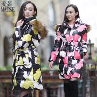 2014 NEW  winter down coat women outerwear winter medium-long women's fancy Fur collar Flower print white duck down jacket