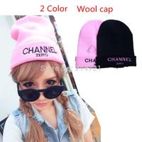 Hot Sale dicer New 2014 Autumn and winter girl/lady knitted hats Women Wool cap alphabet Black Pink Adult chapeau headdress Cute