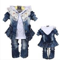 2014 Children's clothing  child spring and autumn clothes denim child set(coat+shirt+pant)