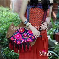 Free Shipping! Nubuck cowhide canvas bag embroidery national bag messenger bag