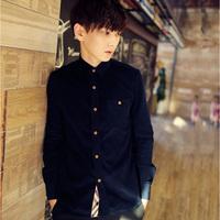 2014 Hot Sale Men/Male Casual Fashion  Stylish Shirts/Clothing turn-down collar solid  shirts multi colors Plus size M-XXXL