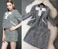 New arrival 2014 women's fashion gentlewomen Dark gray flannel wincey set professional set