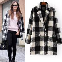 Fashion brief vintage plaid wool coat thickening wool suit jacket female top fashion woolen outerwear