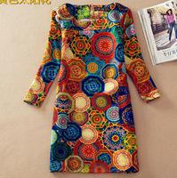 2014 Autumn And Winter Flower Print Dresses Vintage Style Dress Women Long Sleeve Plus Size Bodycon Dress Size S-XXXXL