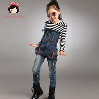 Children's clothing female child autumn 2014 4-6-10 - 12 child spring and autumn denim bib pants set