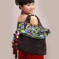 New Arrival! Free shipping National trend embroidered bag, handmade large slim soft leather, fashion bag