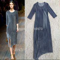Fashion 2014 New Vintage Stripe Denim Asymmetrical Mid-calf Length Three Quarter Sleeve Women Autumn Blue Dress Long Irregular