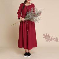 [ LYNETTE'S CHINOISERIE - Sang ] 2014 national trend women's fluid buckle slim waist length 7 sleeve one-piece dress