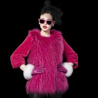High Quality Women's 2014 slim Raccoon Fur patchwork rex rabbit hair fur coat Medium-long