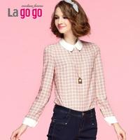 Lagogo blusas femininas 2014 valley of the valley of spring and summer chiffon female peter pan collar basic long-sleeve shirt