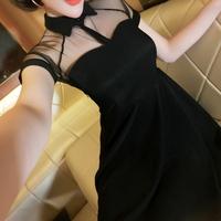 2014 summer fashion women's sexy gauze perspective slim plus size one-piece dress
