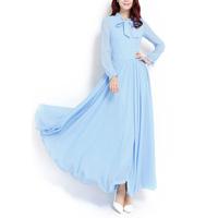 2014 New Women's Clothing Spring Ultra Long Vintage Chiffon Long-sleeve Party BOW Collarfull Girl Maxi Dress