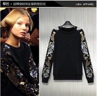 2014 punk women's embroidery paillette oversleeps long-sleeve sweatshirt baseball uniform outerwear female