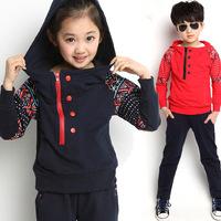 Autumn children's clothing 2014 male female child sports set child 100% cotton twinset