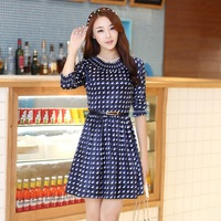 2014 autumn new women's clothing dress o-neck puff sleeve sheath three quarters elegant small body shaping honey one-piece dress