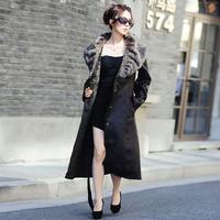 Fashion coffee women's 2014 fur one piece design long fur coat plus size available
