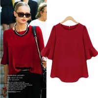 2014 spring and autumn fashion women's three quarter sleeve loose chiffon shirt half sleeve shirt female basic top