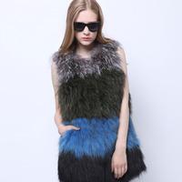 2014 Women's Real Raccoon Fur Vest Medium-long Natural Raccoon Fur Knitted Gilet SU-14102 EMS Free Shipping