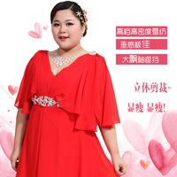 The big code slim bride red dress Korean Princess XXXL long dress LF454