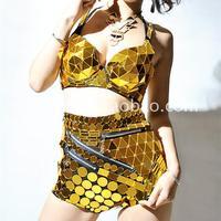 Fashion advanced gold reflective lens bra and  high waist pants costume twinset