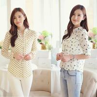 2014 New Women Blouse Blusinhas Blusas Femininas Casual Yellow Polka Dot Long Sleeve Chiffon Shirt Women Camisas Femininas