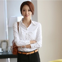 2014 New White Shirt Women Cardigan Work Wear Long Sleeve Tops Slim Women's Blouses & Shirts S M L XL XXL