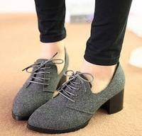 Nerong cloth pointed toe women's small single shoes fashion thick heel lacing vintage small leather female