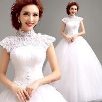 2014 BEST THE ANGEL WEDDING DRESS,new arrival Lace flower slit neckline princess bride racerback bandage wedding dress A3267#
