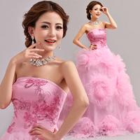 2014 BEST THE ANGEL WEDDING DRESS,new arrival Pink tube top bridal train wedding dress long design wedding dress A2786#