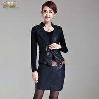 Autumn one-piece dress 2014 slim leather clothing denim patchwork leather skirt twinset female 3016